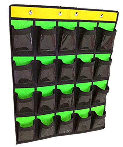 Green Wall Pocket - Cell Phone Pocket Chart Classroom Calculator Holder Hanging Organizer Green(20 Pockets with Cards)