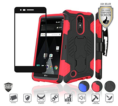 - Compatible for LG Aristo 3 Plus/3/2,Fortune 2,K8,Phoenix 4,Rebel 3/4,Risio 3,Tribute Empire, Zone 4 Case with Tempered Glass, Holster Clip Combo Stand (Black/Red)