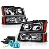 VIPMOTOZ For 2003-2006 Chevy Silverado 1500 2500 3500 Headlights - Built In Color Changing RGB LED Low Beam, Matte Black Housing, Driver and Passenger Side