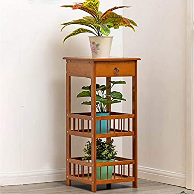Fiudx Bamboo 3-Tier End Table Night Stand Coffee Table Sofa Side Table Telephone Table with Drawer : Garden & Outdoor