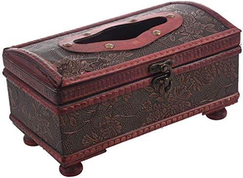 Zxyan ティッシュケース おしゃれ ホルダー レトロヴィンテージ銅リングのパターン木製ペーパーティッシュボックスホルダーイン