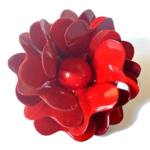 [Red Rose Metal Enamel Flower Brooch] (Cherry Apple Costumes)
