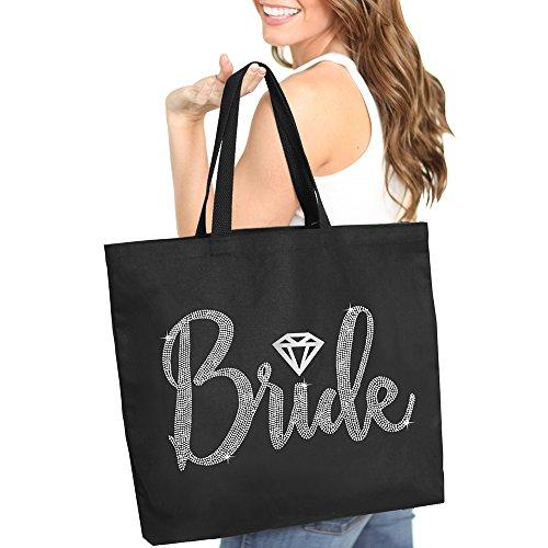 Bride with Diamond Motif Rhinestone Tote Bag - Bridal Shower Gift & Accessories Bride Tote - Black Tote(Bride RS) Blk ()