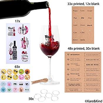 Amazon.com | Emoji Wine Glass Charms (63x) Printed and Writable Tags ...