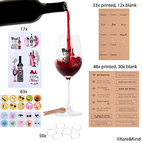 Emoji Wine Glass Charms (63x) Printed and Writable Tags (123x) Circle Clips (50x) and Reusable Wine Glass Stickers with Funny Texts (17x) - Personalize Wine Glasses - For Dinner Party, Wedding, BBQ