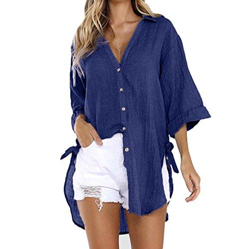 Femmes Robe Shirt Chemise Dames Bouton Longue Lache T Marine Coton Blouse Casual Tops MORCHAN axH4Xa