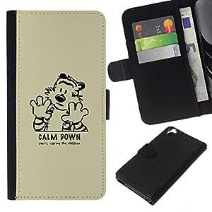JackGot ( Calm Down tiger ) HTC Desire 820 la tarjeta de Crédito Slots PU Funda de cuero Monedero caso cubierta de piel