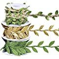 Set of 3 Leaf Ribbon Leaf Trim in Gold Green Vine Trim by The Yard Satin Vine Leaves Garlands Leaf Balloon Tail Gift Wrap Packaging Ribbon Party Garland Embellishment Hair Ribbon G Ribbon Gift Ribbon