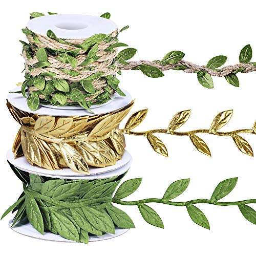 - Set of 3 Leaf Ribbon Leaf Trim in Gold Green Vine Trim by The Yard Satin Vine Leaves Garlands Leaf Balloon Tail Gift Wrap Packaging Ribbon Party Garland Embellishment Hair Ribbon G Ribbon Gift Ribbon