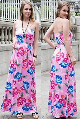 NiSeng Damen Bedruckt Maxi kleid Strand Kleider Ärmellos Sommerkleid