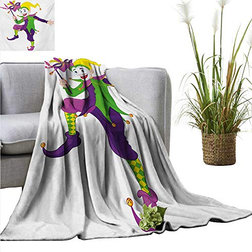 AndyTours Couch Blanket,Mardi Gras,Cartoon Style Jester in Iconic Costume with Mask Happy Dancing Party Figure,Multicolor,Warm & Hypoallergenic Washable Couch/Bed Throws, Microfiber 50