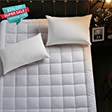 quilted bedcover - RISAR Quilted Fitted Mattress Pad Bed Cover(Down Alternative,Queen) Thickening Cotton Bedspread Mattress Topper Anti-bacterial and Non-slip (Queen 60x80x18inch)
