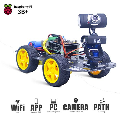 (XiaoR GEEK DS Wireless WiFi Robot Car Kit for Raspberry pi 3B+, Remote Control Hd Camera 8G SD Card Robotics Smart Educational Toy Controlled by iOS Android App PC Software with Detailed Instructions)