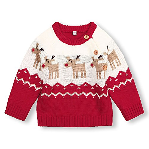 mimixiong Baby Christmas Sweater Toddler Reindeer Outfit Red Clothes (6-12Months,Red-Tops) (Christmas Sweaters Infant)