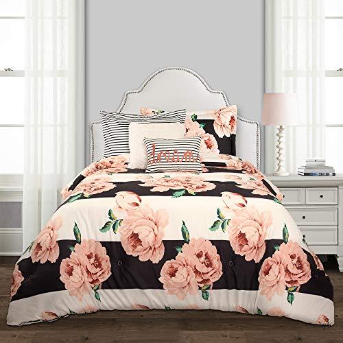 Lush Decor Amara Floral 5 Piece Comforter Set, Twin-XL, Black & Dusty Rose