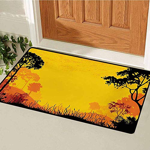 GUUVOR Woodland Welcome Door mat Woodland at Sunset Silhouette of Hills Forest Trees Grass Landscape Nature Art Door mat is odorless and Durable W19.7 x L31.5 Inch Yellow Black