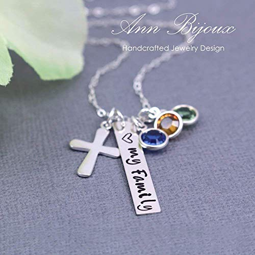 Hand Stamped Love My Family Message Necklace Sterling Silver Dainty Cross Pendant Mother Grandma Gift, Mom Gift