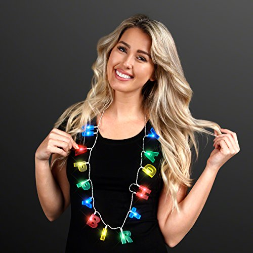 FlashingBlinkyLights LED Happy Birthday Necklace with Light Up Letters -