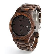 ZS-W086B Men Wooden Watch Natural Zebra Wood Watch Analog Quartz Lightweight Handmade Casual Retro Wood Wrist Watch (Dark Brown)