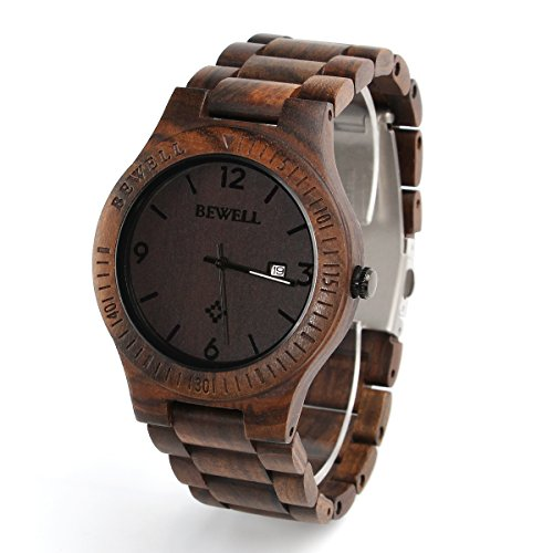 (Wooden Watch for Men Natural Zebra Wood Watch Analog Quartz Lightweight Handmade Casual Retro Wood Wrist Watch (Dark)