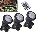 Remote control Submersible Lamp 3 Set 36 LED Colorful Waterproof Underwater Aquarium Spotlight Multi-color Decoration Landscape lamp for Fountain Fish tank Swimming Pool Water Garden Pond Rockery Yard