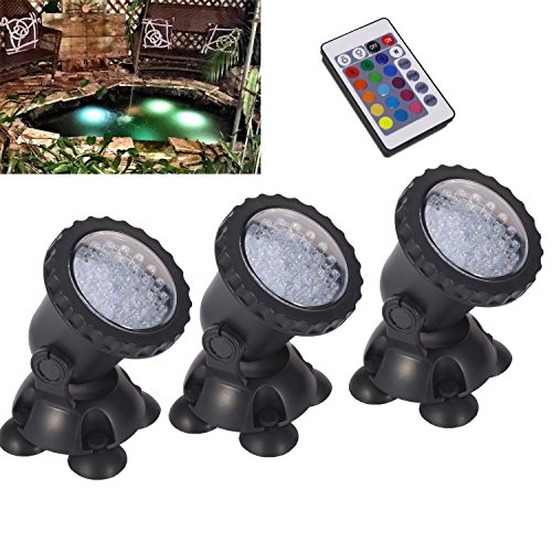Remote control Submersible Lamp Pond lights 3 Set 36 LED Colorful Waterproof Aquarium Spotlight Multi-color Decoration Landscape lamp for Swimming Pool Fountain Fish tank Water Garden Rockery Yard