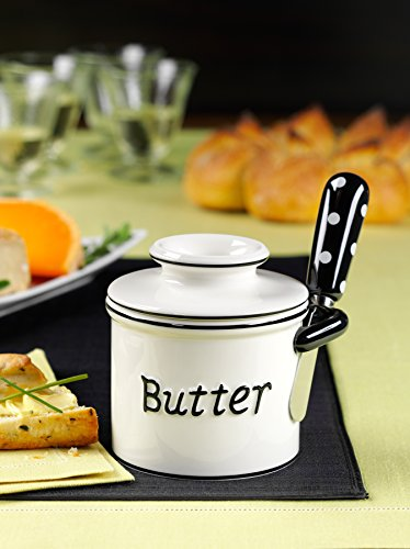 The Original Butter Bell Crock and Spreader by L. Tremain, Parisian Polka Dot Collection - Black/White by Butter Bell (Image #1)