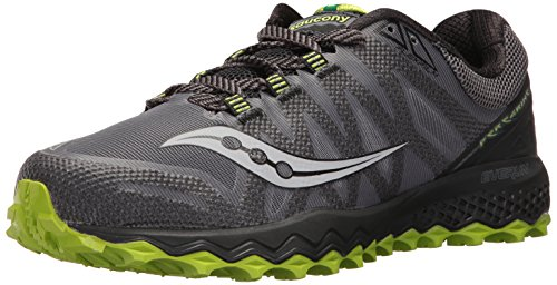 Mens Trail Running Shoes (Saucony Men's Peregrine 7 Trail Runner, Grey/Black/Lime, 11 M US (S20359-2))