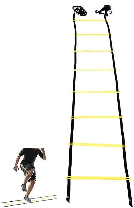 GOTOTOP - Escalera de fútbol, 4 m, 8-Rung, Escalera de Salto, Escalera de Agilidad, Escalera para Entrenamiento, fútbol, Ejercicio de Velocidad, para Interiores y Exteriores, Color Amarillo: Amazon.es: Deportes y aire libre