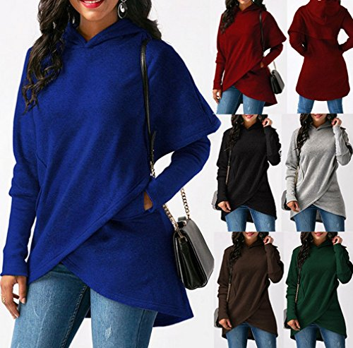 Couleur Automne Pullover Hauts Sweats Blouse Marron Shirts Capuche Manches Tops Unie Chemisiers Longues Shirts Femmes Fashion Sweat Legendaryman Casual Pulls Hiver qxdzfCqnY