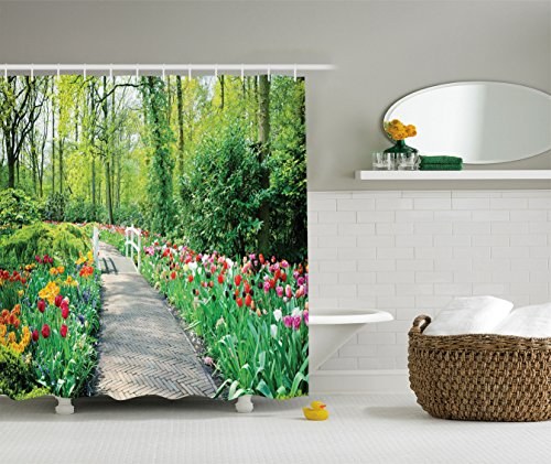 Ambesonne Country Home Decor Collection, Tulips in Keukenhof Gardens Path Along Colorful Flowers Nature Picture, Polyester Fabric Bathroom Shower Curtain, Crimson Pink White Red Green from Ambesonne