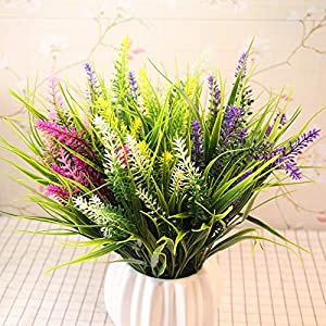 Yunuo 3PCS Artificial Green Grass with Lavender Fake Plant 7 Forks Flower Bouquets Party Wedding Home Table Decor 5