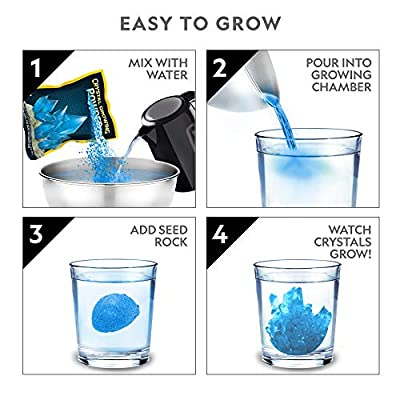 NATIONAL GEOGRAPHIC Blue Crystal Growing Lab - DIY Crystal Creation - Includes Real Calcite Crystal Specimen: Toys & Games