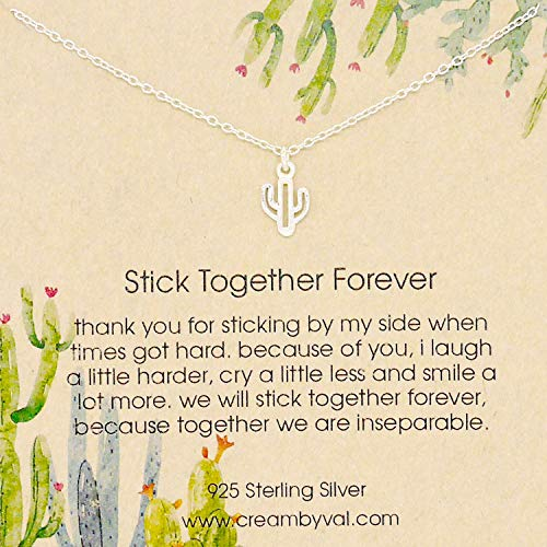 Stick Together Forever Cactus Sterling Silver Necklace - 17