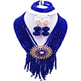 aczuv 8 Rows Royal Blue Costume African Beads Nigerian Necklace Bridal Wedding Jewelry Sets for Women