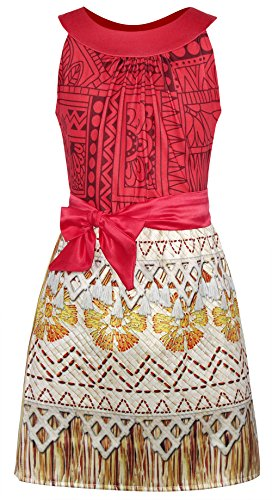 AmzBarley Princess Moana Costume Halloween Fancy Dress up Little Girls Kids Cosplay Outfit Child Birthday Party Clothes Preschool Role Play Dresses Age 2-3 Years Size 3T -