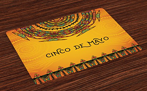 Lunarable Mexican Place Mats Set of 4, 5th May Celebration Historical National Aztec Victory Holiday Cinco de Mayo Art, Washable Fabric Placemats for Dining Room Kitchen Table Decoration, Orange Green]()