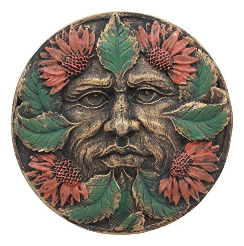 (Ebros Bronzed Four Seasons Tropics Summer Celtic Greenman Pan Wall Decor Sunflower Greenman Foliage Round Wall Plaque Sculpture 5