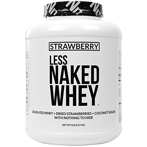 Strawberry Whey Protein - All Natural Grass Fed Whey Protein Powder + Dried Strawberries + Coconut Sugar- 5lb Bulk, GMO-Free, Soy Free, Gluten Free. Aid Muscle Growth & Recovery - 61 (Strawberry Sugar Cookies)
