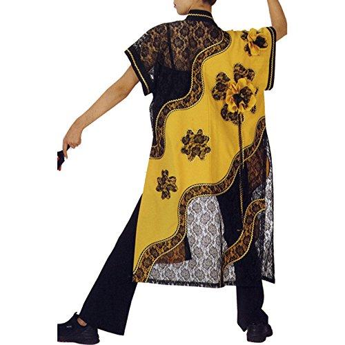 【よさこい衣装祭り法被】 よさこい レース袖なし袢天 黄色/黒 C53108 B01HS43OBW