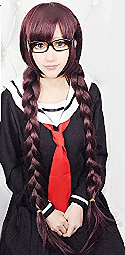 Anogol Hair Cap +Wine Red Long Braided Purple Cosplay Wig for Party Costume]()