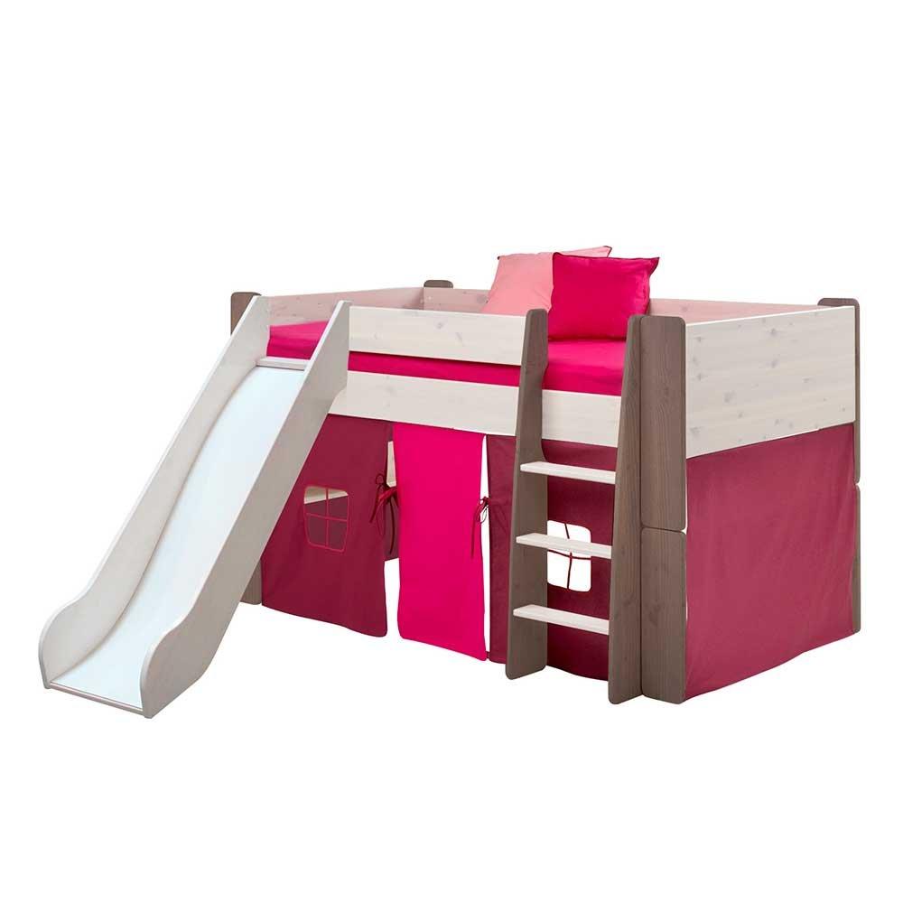 Pharao24 Halbhoches Hochbett in Weiß Braun Vorhang in Pink