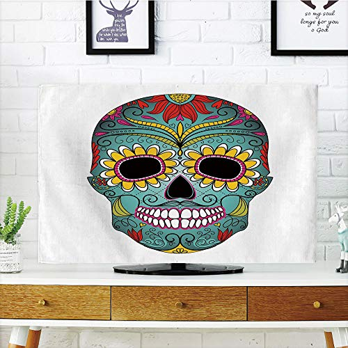 iPrint LCD TV dust Cover,Sugar Skull Decor,Folk Art Elements Featured Skull Day of The Dead Celebration Concept Decorative,Multicolor,3D Print Design Compatible 70'' TV by iPrint (Image #4)
