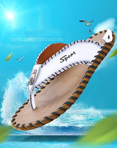 Style Strand Leisure New Beach Summer Sandals Stil Flops Anti Men's Anti Menn Leather Dragging Sko 2018 Flops Fritid Sandaler Slip Xiaolong Xiaolong Flip Slip Dra Ny Flip Hvit White 2018 Sommeren Skinn Shoes CIqWwO8Rt