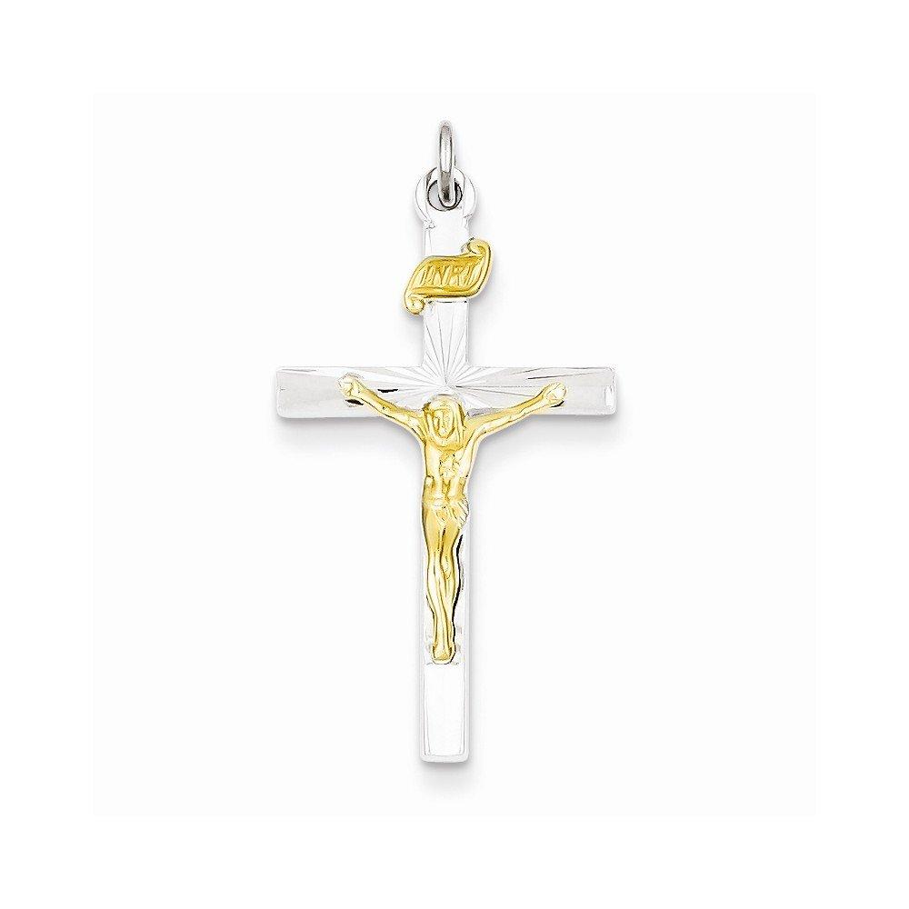 Best Quality Free Gift Box Sterling Silver /& Vermeil Inri Crucifix Charm