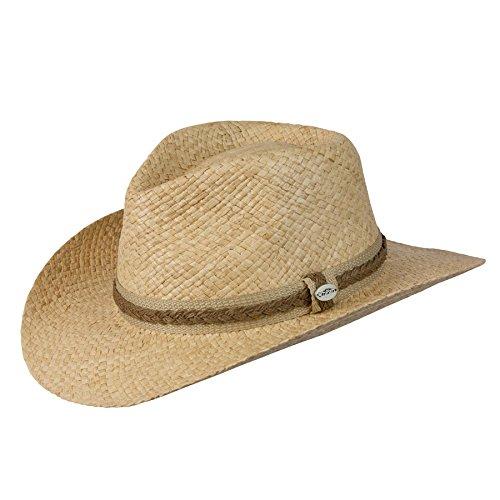 Cov-ver Hats Outback Organic Raffia & Toyo Crushable Western Cowboy Hat (L/XL, Natural)
