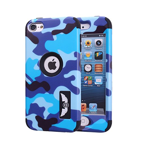 iPod Touch 6 Camo Case, Harsel Dual Layer Hybrid Protective Case and Impact Resistant Case Drop Protection Silicone Hard Cover for Apple iPod Touch 6th Generation - Military Blue (Case Camouflage Ipod Touch)