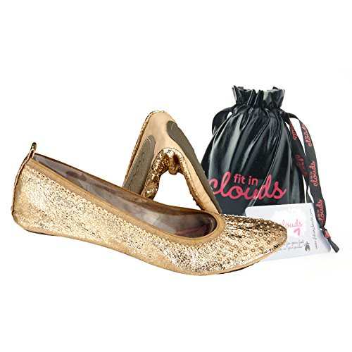Fit in Clouds Foldable Flats (11, Gold)