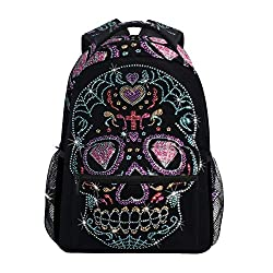 Canvas With Rhinestone Studs Sugar Skull Backpack