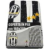 Coperta plaid invernale in pile Juve Juventus ufficiale 160x240 con balza doppia disegno continuo